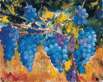 William Kelley William Kelley Limited Edition Giclee on Canvas L'Uve (Grapes)