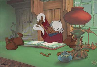 Donald Duck Art Walt Disney Limited Edition Hand-Painted Cel Mickey's Christmas Carol: Scrooge McDuck