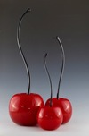 Donald Carlson Sculpture Red Cherries - Curved Stem