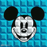 Mickey Mouse Art Walt Disney Animation Artwork 8-Bit Block Mickey Aqua