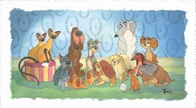 Lady and The Tramp Art Walt Disney Animation Artwork Family Portrait