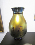 Donald Carlson Sculpture Gold Lustre Tear Drop Footed Vase