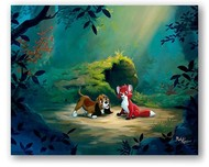 Fox and The Hound Art Walt Disney Animation Artwork New Found Friend in the Forest