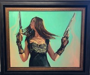 Gabe Leonard Western Art The Upper Hand (Original) (Framed)