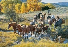 Tim Cox Western Art Crossing the Creek (SN)