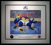 Tazmanian Devil Art Warner Brothers Animation Artwork Devil of a Save - Colorado Avalanche (framed)