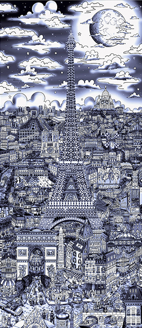 Charles Fazzino Midnight in Paris (AP) (Blue) (ALU)