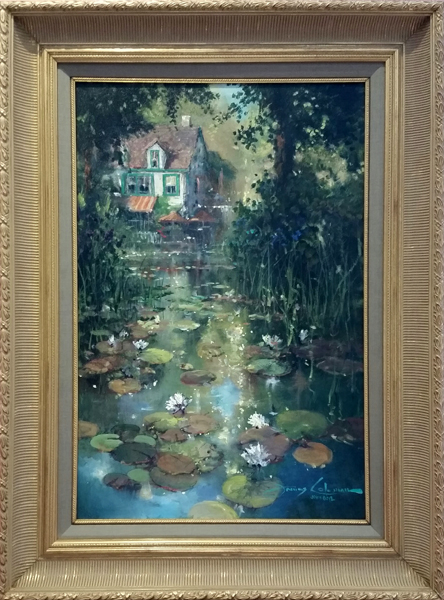 James Coleman Nestled Along the Pond (Original) - Framed
