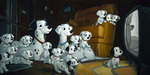 One Hundred and One Dalmatians Art Limited Edition Giclee on Canvas Family Time