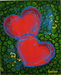 Godard Martini Art Original Acrylic on Canvas Hearts of Hope Green (Original Painting)