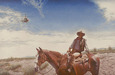 Sebastian Kruger Art Original Acrylic on Canvas Searching (Cowboy & Heli) (Original)
